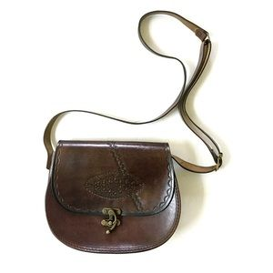 70's vintage Hand Tooled Brown Italian Leather bag